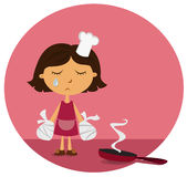 Domestic injury. A poor female chef with burnt hands Stock Photo