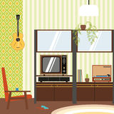 Domestic interior in the style of 70's vector illustration. Stock Photo