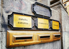 Domestic, international and capital city (to Madrid) post boxes Royalty Free Stock Photos