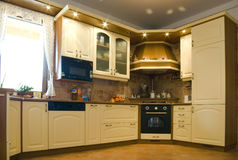 Domestic kitchen. Detail with warm lights Stock Photos