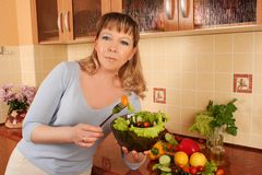 At domestic kitchen Stock Images