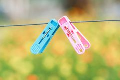 Domestic Life, Laundry, Rope, Ukraine, Clothespin. Coloured plastic clothes pins or peg on rope, Sofia, Bulgaria Stock Image