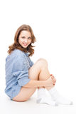 Domestic look woman sit and smile Stock Photos