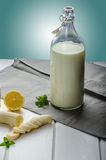 Domestic milk from organic farms. Nice background, wood table, ready for your advertisment Royalty Free Stock Photos