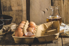 Domestic organic eggs Royalty Free Stock Photo