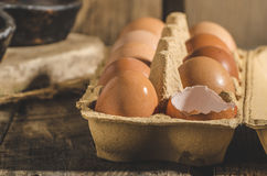 Domestic organic eggs Royalty Free Stock Images