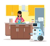 Domestic personal assistance robot helps his owner at home. Robotics technology concept vector illustration Stock Photo