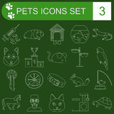 Domestic pets and vet healthcare flat icons set Royalty Free Stock Photography