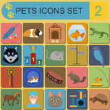 Domestic pets and vet healthcare flat icons set Stock Image