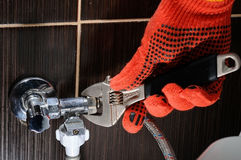 Domestic plumbing connections. Plumber Installation Hoses. royalty free stock photography