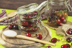 Domestic production of cherry jam. Freshly picked cherries ready for canning. Royalty Free Stock Photo