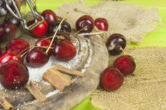 Domestic production of cherry jam. Freshly picked cherries ready for canning. Stock Image
