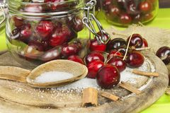 Domestic production of cherry jam. Freshly picked cherries ready for canning. Royalty Free Stock Images