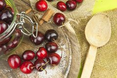 Domestic production of cherry jam. Freshly picked cherries ready for canning. Stock Images
