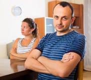 Domestic quarrel between spouses Stock Photo