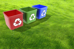Domestic recycling boxes Stock Photography