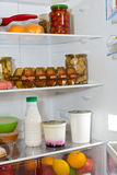 Domestic refrigerator full of a variety of foods Royalty Free Stock Photo