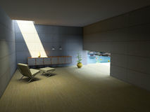 Domestic relaxation. Simple concrete room with markedly sunlight through the ceiling Royalty Free Stock Image