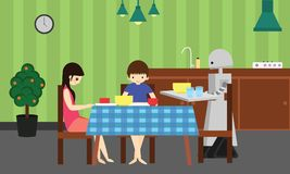 Domestic robot brings food for young boy and girl. Royalty Free Stock Photography