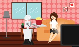 Domestic robot brings popcorn to his young female owner. Royalty Free Stock Photography