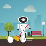 Domestic robot cleaning park alley with a broom in hand. Royalty Free Stock Image