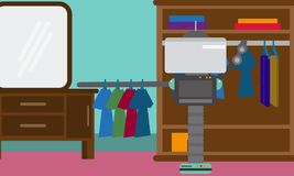Domestic Robot hanging clothes on hangers in a closet. Stock Photography