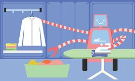Domestic Robot ironing clothes. Stock Images