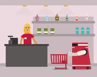 Domestic robot shopping at supermarket. Personal robot housekeeper futuristic concept illustration Stock Photography