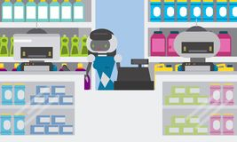 Domestic robot smart attendants at counter of household chemical goods shop, drug store. vector illustration