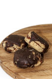 Domestic round cookies topped with chocolate Stock Photos