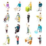Domestic Servant Isometric Icons. Domestic servant set of isometric icons with housemaid, gardener, nanny, personal chef, driver, nurse isolated vector Royalty Free Stock Photos
