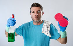 Domestic service man or tired husband angry and stressed house c Stock Photos