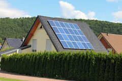 Domestic solar panels. Solar panels allow the production of clean energy Royalty Free Stock Photos