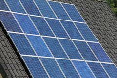 Domestic solar panels. Solar panels allow the production of clean energy Royalty Free Stock Image