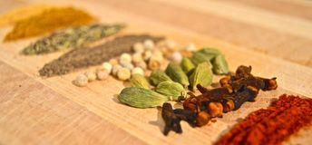 Domestic spices. In a wood royalty free stock images