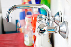 Domestic steel sink. With blurred background Stock Photography