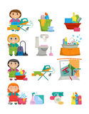 Domestic Tools for cleaning the house on white background Royalty Free Stock Photo