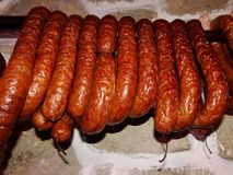 Domestic Traditional Smoked Sausage Royalty Free Stock Photos