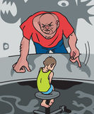 Domestic violence. Cruel father abuses his little son Royalty Free Stock Photo
