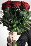 Domestic Violence Concept. Guy bringing home roses as an excuse for beating up his girlfriend Royalty Free Stock Image