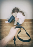 Domestic violence concept. Little girl crying in the corner. Domestic violence concept Stock Photography
