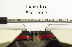 Domestic violence. Concept, with message on typewriter paper Stock Images