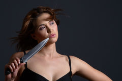 Domestic violence knife Stock Photography