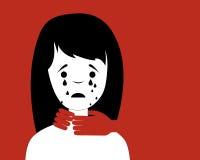 Domestic violence. Man strangling a woman. Vector illustration Stock Photo