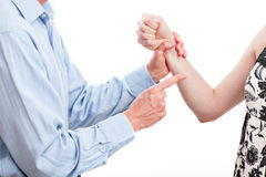 Domestic violence. Man threatening his wife, domestic violence, isolated Stock Photo