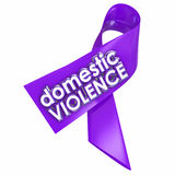 Domestic Violence Purple Awareness Ribbon End Family Spousal Abu. Domestic Violence 3d words on a purple ribbon to raise awareness against the problem of family Royalty Free Stock Photos