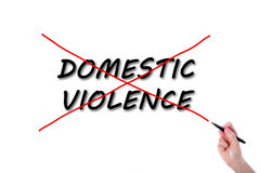 Domestic violence. On white background Stock Images