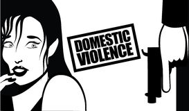 Domestic violence woman and gun. 