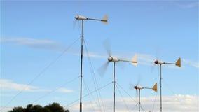 Domestic wind energy turbines stock footage