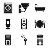 Domestic work icons set, simple style stock illustration